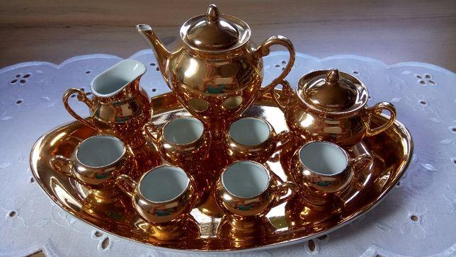 Miniserwis kawowy pozłacany porcelanowy Ćmielów