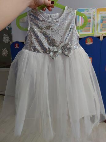 Платье снежинки звездочки 98-104 нарядное белое пышное