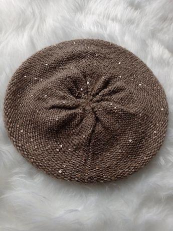 Beretka beret czapka brązowa z cekinami