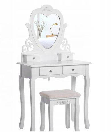 Toaletka kosmetyczna lustro Serce+ taboret, lusterko i gąbka GRATIS