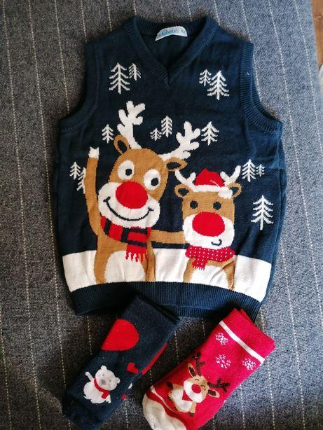 Komplet świąteczny 92 98 Renifer skarpety