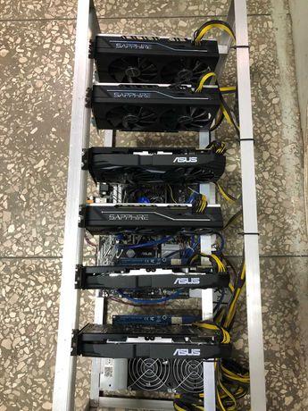 Майнинг ферма 6 карт RX580 8 gb, RX570 8 gb Asus/Sapphire
