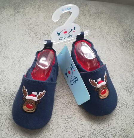 Świąteczne Kapcie niemowlęce z reniferem z ABS, Dł. Wkładki 10.6 cm