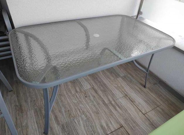Zestaw ogrodowy Sevilla Silver / Grey - stół + 6 krzeseł + parasol