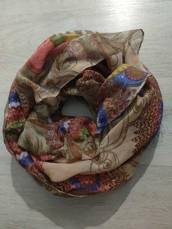 Komin wiskoza brązowy beżowy pudrowy szalik szal