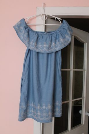 ДЖИНСОВОЕ голубое платье, платьице, сукня, сарафан с вышивкой 44-46 р.