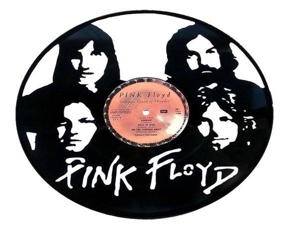 Silhueta decorativa Pink Floyd feita de um disco de vinil LP
