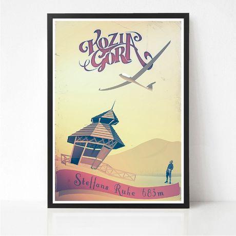 Kozia Góra Stefanka Plakat Retro Beskidy Bielsko góry