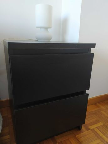 MALM - Mesa c/2 gavetas, pret-cast 40x55 cm