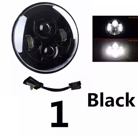 Faróis frontais LED 7 pol moto e carro H4 universal
