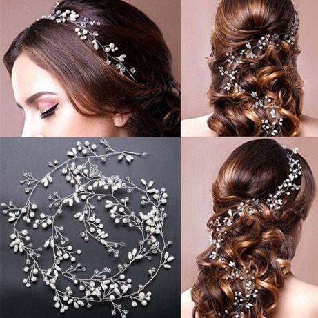 Biżuteria / ozdoba ślubna do włosów - gałązka z kryształkami