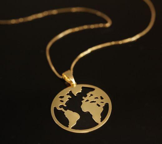 Złoto 585 - złota zawieszka Mapa Świata