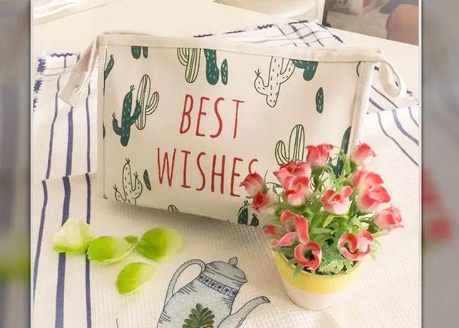 Bolsa de mão cosmética inspiradora e elegante de fecho