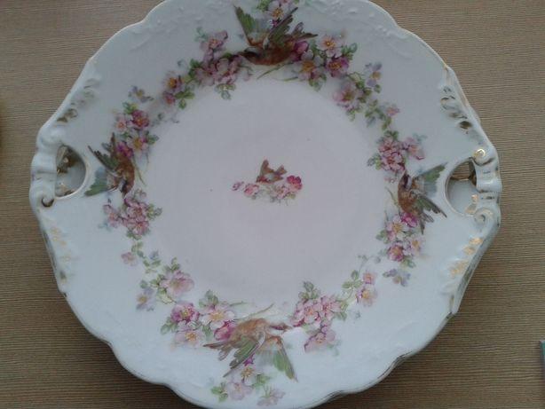 talerz porcelanowy, ręcznie zdobiony