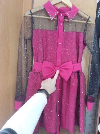 Яскрава сукня з поясом бантом!