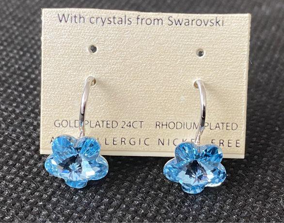 Kolczyki z kryształkiem swarovski elements aguamarine