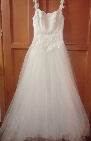 Piękna biała suknia ślubna 38 princeska Princessa tiul dodatki zestaw