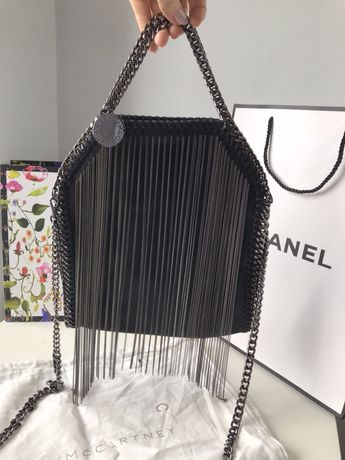 Stella McCartney czarna torebka metalowe frędzle łańcuch