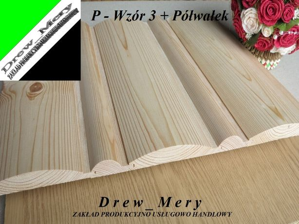 Deska Elewacyjna Półokrągła Imitacja Bala P-W3 27x167 /Szalówka Półbal