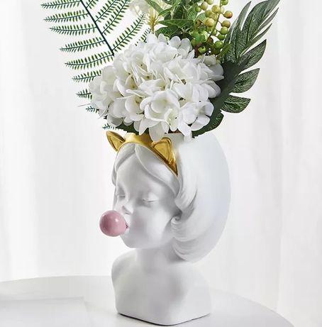 Креативная ваза для цветов / вазочка голова девочки / кашпо / гипсовая