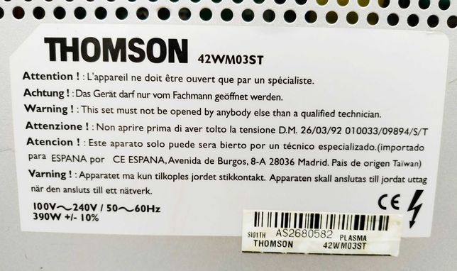 Телевизор плазма THOMSON 42WM03ST