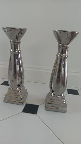 Świeczniki kolor srebro 35 cm, dwie sztuki