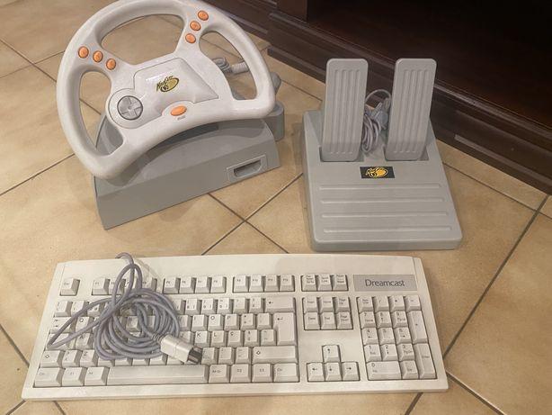Volante, pedais e teclado DREAMCAST