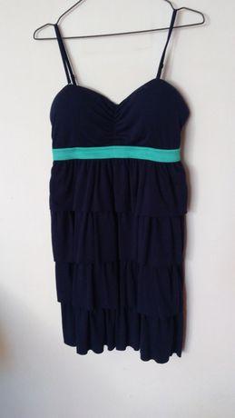 Sukienka na lato warstwowa falbany Tall Weijl granatowa na ramiączkach