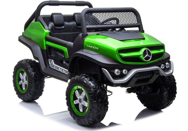 Auto na akumulator MERCEDES UNIMOG 4X4 zielony,2-osobowy:babyland lodz