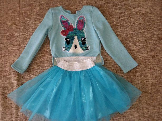 Нарядный голубой костюм для девочки юбка из Фатина кофта с паетками