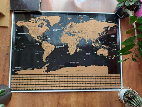 Mapa zdrapka, do zdrapywania, mapa świata, z flagami