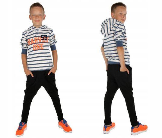 Ocieplane spodnie dresowe baggy czarne dla chłopca 140, 146