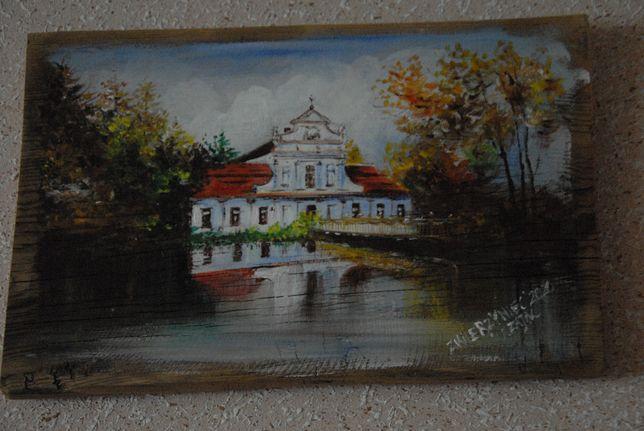 Obraz olejny na desce - Barokowy kościółek na wodzie