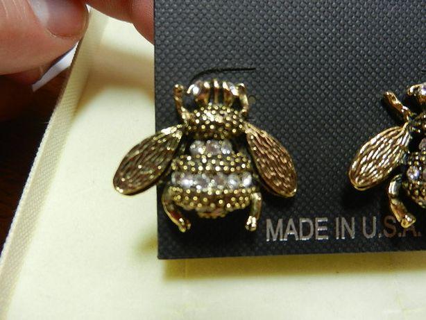 Kolczyki YOCHI Swarovski pszczoły cyrkonie made in USA NOWE