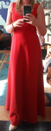 Sukienka czerwona długa, wieczorowa weselna studniówka Sylwester