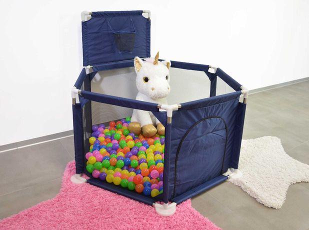 Kojec dla dziecka 125 x 65 cm z 100 piłeczkami Granatowy
