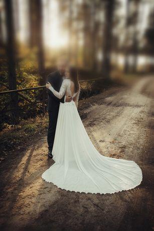 Suknia ślubna BOHO, długi rękaw