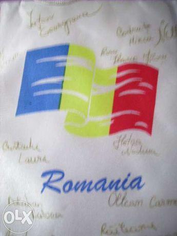 Galhardete tecido almofadado e assinado Federação Romena de Ginástica