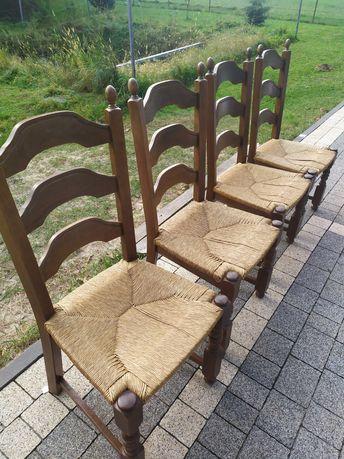 Krzesło dębowe, krzesła zestaw, ratan, krzesła dębowe