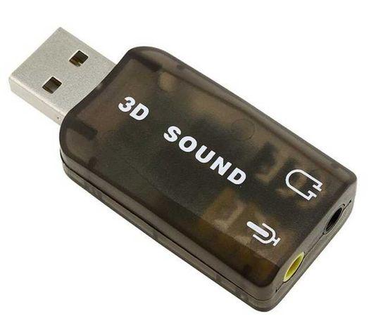 Зовнішня звукова Карта контролер Адаптер USB аудіо Sound card флешка