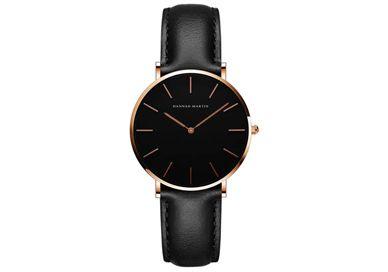 LIKWIDACJA sklepu! Zegarek damski skórzany na pasku czarny złoty
