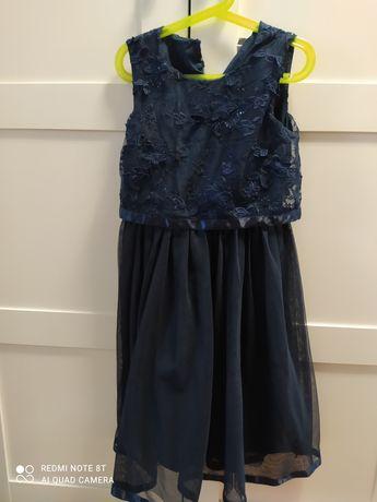Granatowa, koronkowo-tiulowa sukienka Name it rozm. 128 cm