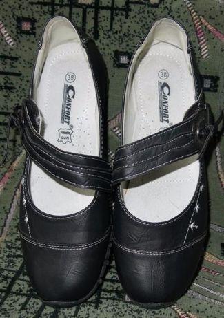 Туфли новые кожаные для девочки 37-38 размер, по стельке 24 см.