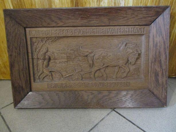 Płaskorzeźba drewniana dębowa