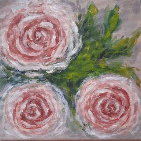 """Картина """"Розы"""" акрилом 20*20"""