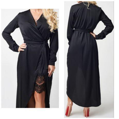 Платье бельевой стиль женское чёрное атласное новое стильное кружево