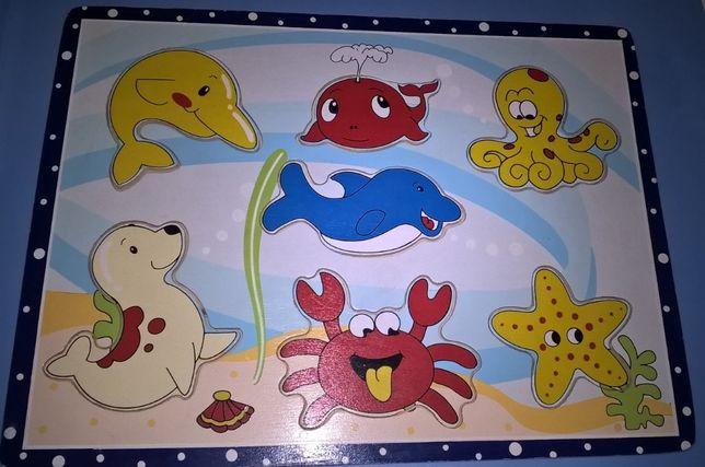 Brinquedos de Madeira Educativos Puzzles Manny Animais Palhaços Zoo