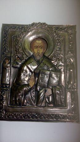 Старинная икона Андрея Первозванного,чекан..19век