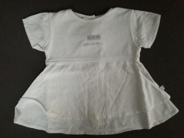 Sukienka 74 cm biała kwiatki Baby Boom cienki len bawełna