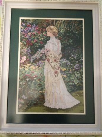 """Вышитая крестиком картина """"Девушка в саду"""""""